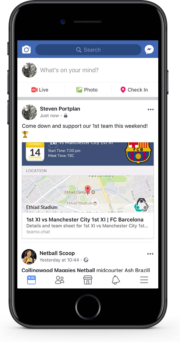 share fixture details via social media with teamo