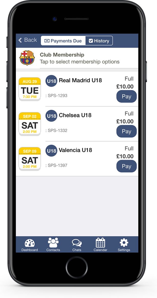 Accept payments from your sports team